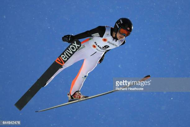 Natasha Bodnarchuk of Canada competes in the Women's Ski Jumping HS100 during the FIS Nordic World Ski Championships on February 24 2017 in Lahti...
