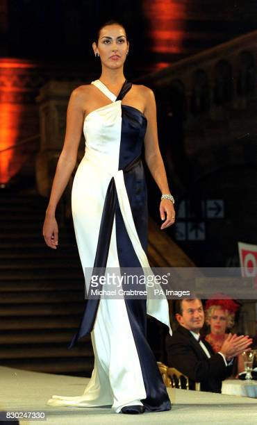 Natasha Caine wearing a dress designed by Catherine Walker at the Dolls against Addiction Gala Evening held at the Natural History Musuem, London.