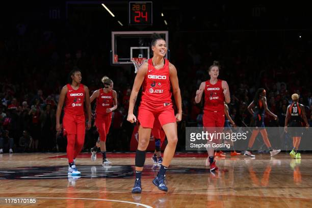 Natasha Cloud of the Washington Mystics celebrates during Game Five of the 2019 WNBA Finals on October 10 2019 at the Mohegan Sun Arena in Uncasville...