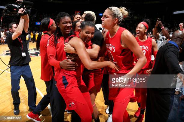Natasha Cloud of the Washington Mystics celebrates shooting a gamewinning shot against the Los Angeles Sparks on August 17 2018 at the Capital One...