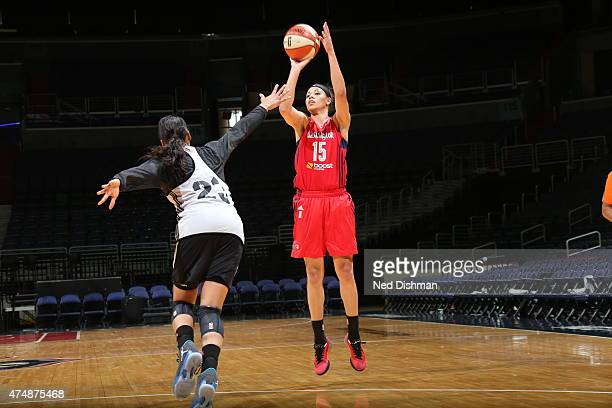 Natasha Cloud of the Washington Mystics shoots against the Minnesota Lynx during an Analytic Scrimmage at the Verizon Center on May 26 2015 in...