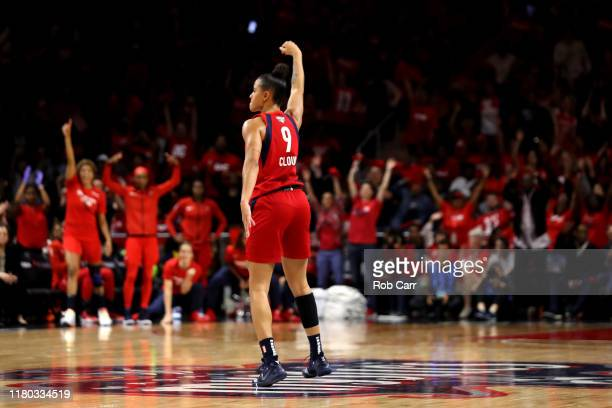Natasha Cloud of Washington Mystics celebrates against the Connecticut Sun during the second half of Game Five of the 2019 WNBA Finals at St...
