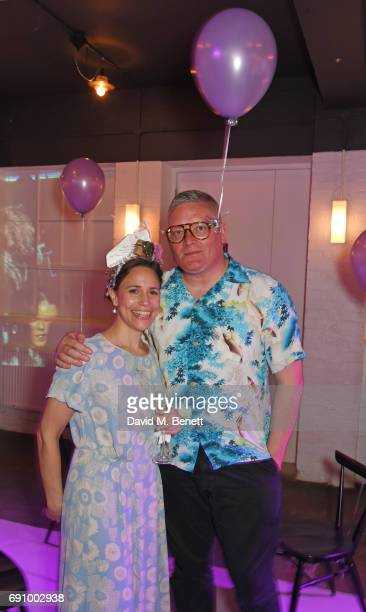 Natasha Cowan and Giles Deacon attend Stephen Jones 100th Birthday gala dinner celebrating his 60th birthday and 40 years in millinery at...