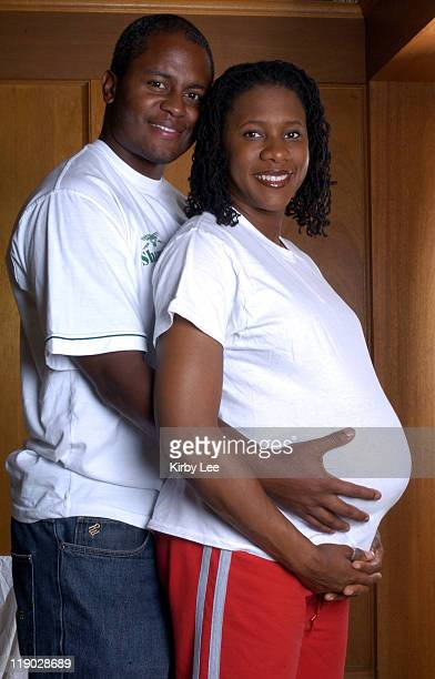 Natasha Danvers a 2000 Olympic women's 400meter hurdle finalist for Great Britain who missed the 2004 Olympics because of pregnancy poses with...