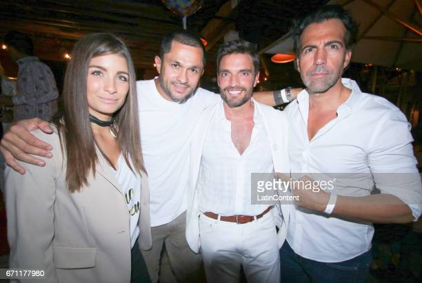 Natasha Domingues Andres Lopez Julian Gil and Felipe Viel pose at River Yatch Club during the US launch of Carson Life on April 20 2017 in Miami Us