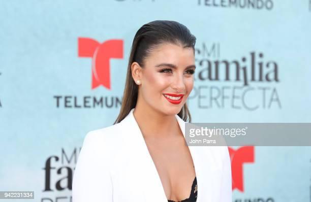 Natasha Dominguez arrives at Telemundo's Mi Familia Perfecta Private Premiere Screening at The Wharf Miami on April 4 2018 in Miami Florida
