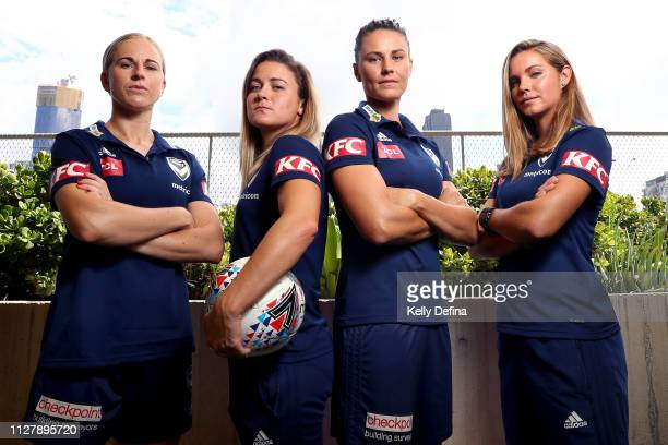 Natasha Dowie , Christine Nairn, Emily Gielnik and Dani Weatherholt of Melbourne Victory pose for a portrait during a Melbourne Victory W-League...