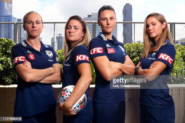 Natasha Dowie Christine Nairn Emily Gielnik and Dani Weatherholt of Melbourne Victory pose for a portrait during a Melbourne Victory WLeague media...