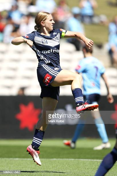 Natasha Dowie Melbourne Victory celebrates scoring a goal during the round four W-League match between Sydney FC and the Melbourne Victory at WIN...