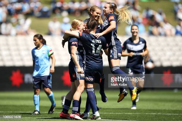 Natasha Dowie Melbourne Victory celebrates with her team mates scoring a goal during the round four WLeague match between Sydney FC and the Melbourne...