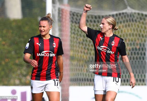 Natasha Dowie of AC Milan celebrates her second goal during the Women Serie A match between AC Milan and FC Internazionale at Centro Sportivo Vismara...
