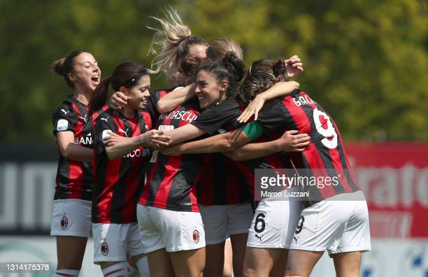 Natasha Dowie of AC Milan celebrates her second goal with her team-mates during the Women Coppa Italia match between AC Milan and FC Internazionale...