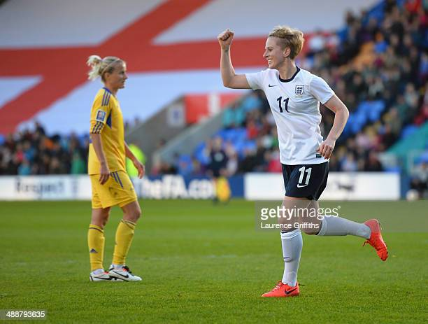 Natasha Dowie of England celebrates scoring the opening goal during the Women's World Cup Group Six Qulifier between England and Ukraine at Greenhous...