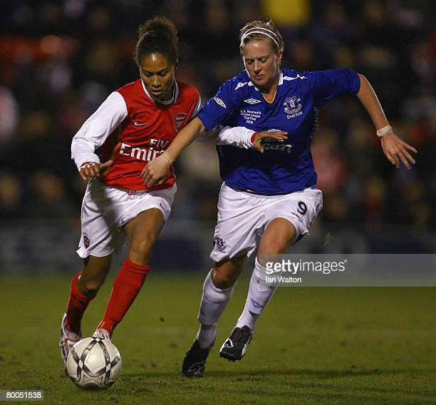 Natasha Dowie of Everton tries to tackle Rachel Yankey of Arsenal during the FA Tesco Women's Premier Cup Final match between Everton and Arsenal at...