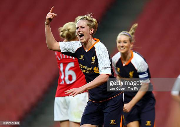 Natasha Dowie of Liverpool Ladies celebrates her goal during the FA WSL Continental Cup match between Arsenal Ladies FC and Liverpool Ladies FC at...