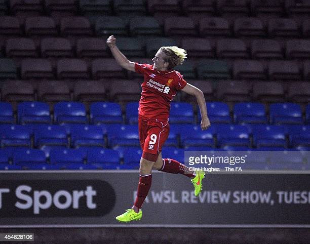 Natasha Dowie of Liverpool Ladies FC celebrates after she scores the first goal of the game for her side during the FA WSL 1 match between Everton...