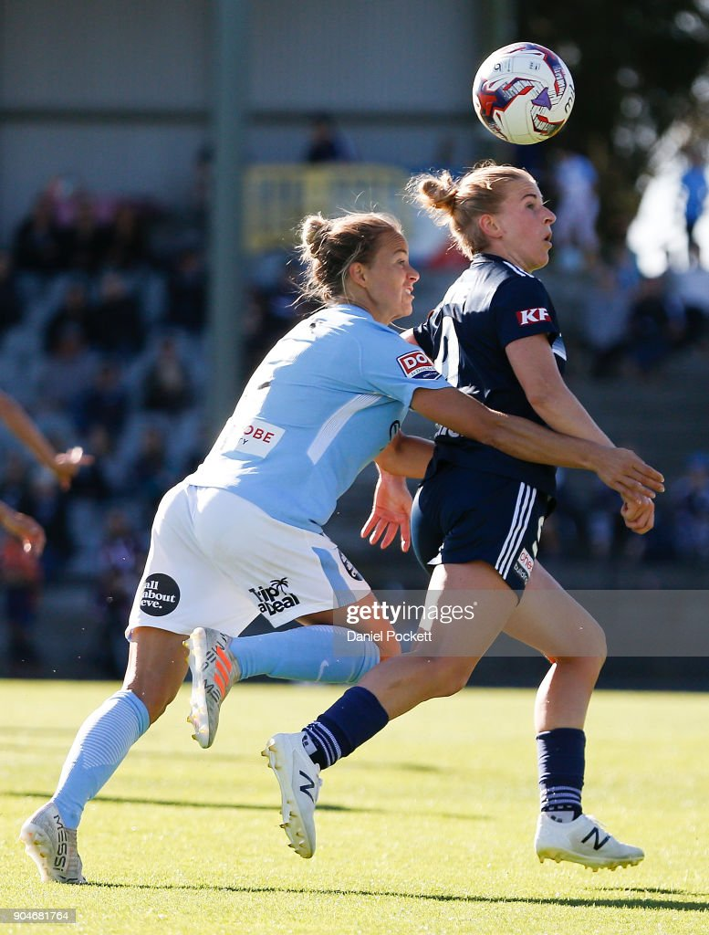 Natasha Dowie of Melbourne Victory and Aivi Luik of Melbourne City contest the ball during the round 11 W-League match between the Melbourne Victory and Melbourne City at Epping Stadium on January 14, 2018 in Melbourne, Australia.