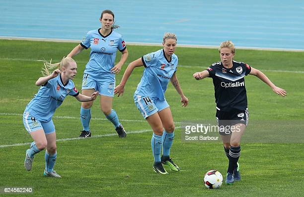 Natasha Dowie of Melbourne Victory competes for the ball during the round three WLeague match between the Melbourne Victory and Sydney FC at Lakeside...