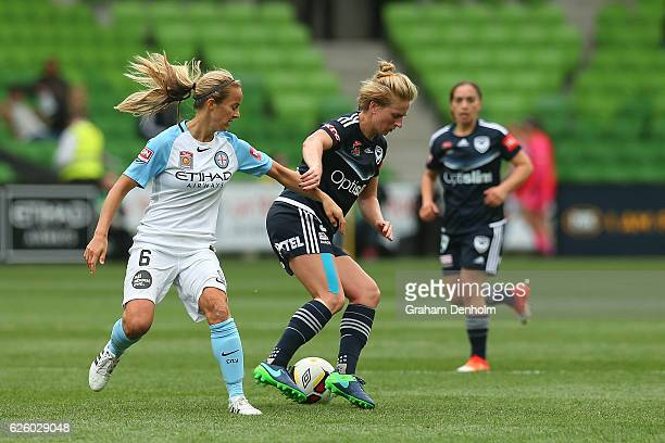 Natasha Dowie of Melbourne Victory controls the ball during the round four ALeague match between Melbourne City FC and Melbourne Victory at AAMI Park...