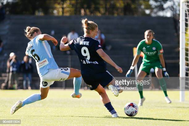 Natasha Dowie of Melbourne Victory passes the ball during the round 11 WLeague match between the Melbourne Victory and Melbourne City at Epping...