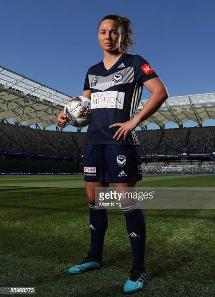 Natasha Dowie of Melbourne Victory poses during the W-League 2019/20 Season Launch at Bankwest Stadium on November 07, 2019 in Sydney, Australia.