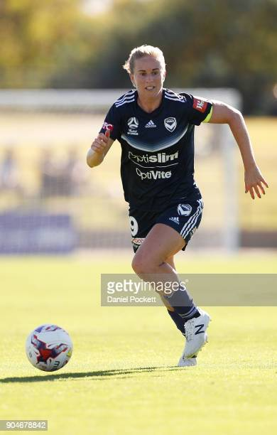 Natasha Dowie of Melbourne Victory runs with the ball during the round 11 WLeague match between the Melbourne Victory and Melbourne City at Epping...