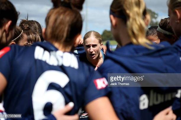 Natasha Dowie of Melbourne Victory speaks to her team ahead of the W-League Semi Final match between the Melbourne Victory and Sydney FC at Epping...