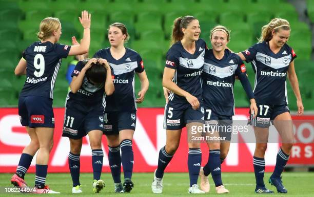 Natasha Dowie of the Victory and her teammates celebrate after Elise KellondKnight of City scored an own goal during the round three WLeague match...