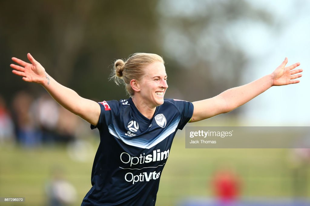 Natasha Dowie of the Victory celebrates a goal during the round one W-League match between Melbourne Victory and Canberra United at Epping Stadium on October 28, 2017 in Melbourne, Australia.