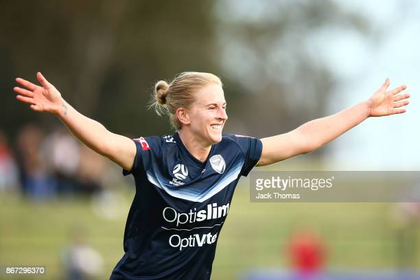 Natasha Dowie of the Victory celebrates a goal during the round one WLeague match between Melbourne Victory and Canberra United at Epping Stadium on...