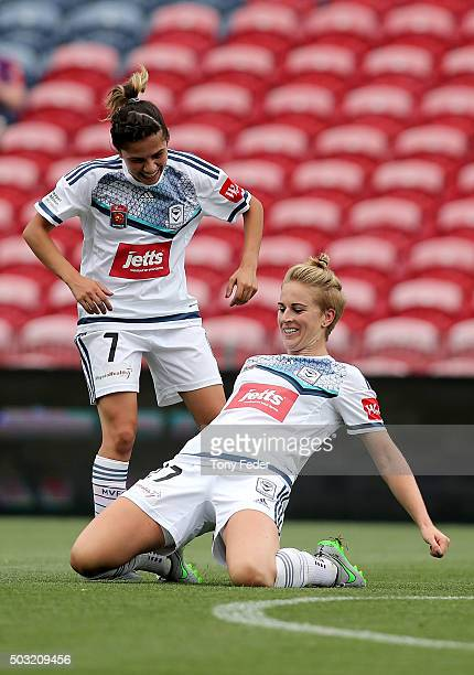 Natasha Dowie of the Victory celebrates a goal with team mate Enza Barilla during the round 12 WLeague match between the Newcastle Jets and the...