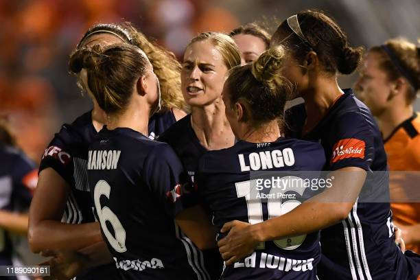 Natasha Dowie of the Victory celebrates scoring a goal during the round two W-League match the between Brisbane Roar and the Melbourne Victory at...