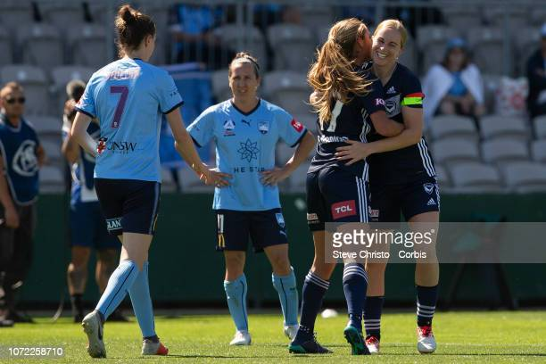 Natasha Dowie of the Victory celebrates scoring her third goal during the round four W-League match between Sydney FC and the Melbourne Victory at...