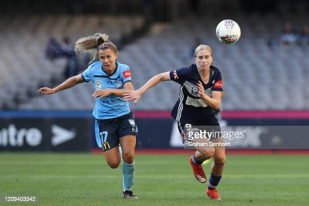 Natasha Dowie of the Victory chases the ball during the round 14 W-League match between the Melbourne Victory and Sydney FC at Marvel Stadium on...