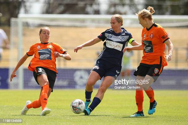 Natasha Dowie of the Victory controls the ball during the round six WLeague match between the Melbourne Victory and Brisbane Roar at Epping Stadium...