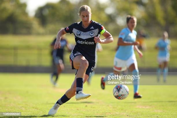 Natasha Dowie of the Victory in action during the round 10 W-League match between the Melbourne Victory and Melbourne City FC at Epping Stadium on...