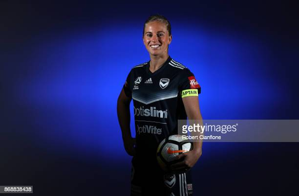 Natasha Dowie of the Victory poses during a Melbourne Victory W-League portrait session on November 1, 2017 in Melbourne, Australia.