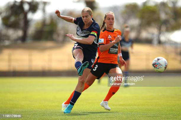Natasha Dowie of the Victory shoots during the round six WLeague match between the Melbourne Victory and Brisbane Roar at Epping Stadium on December...