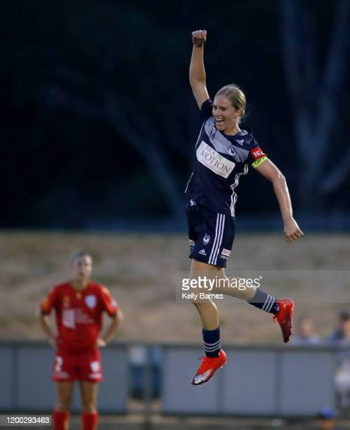 Natasha Dowie of Victory celebrates a goal during the round 10 W-League match between Adelaide United and the Melbourne Victory at Marden Sports...