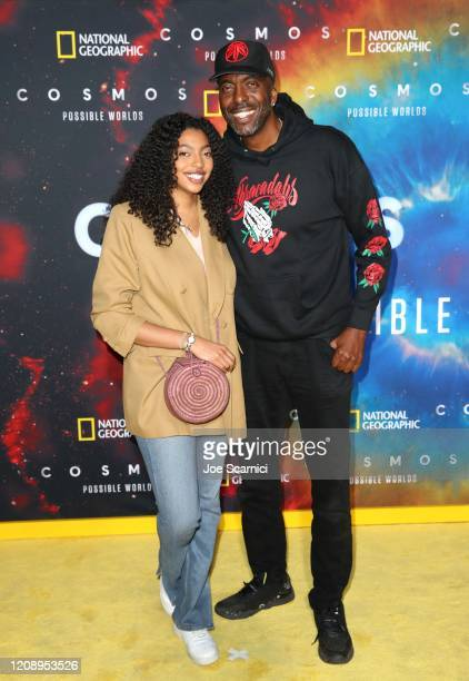 Natasha Duffy and John Salley attend National Geographic's Los Angeles Premiere Of Cosmos Possible Worlds at Royce Hall UCLA on February 26 2020 in...