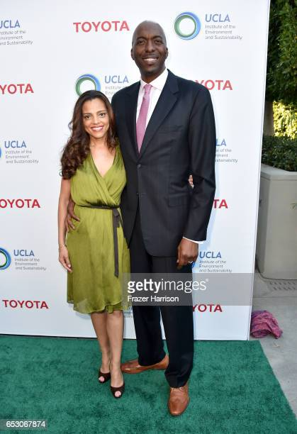 Natasha Duffy and retired NBA player John Salley at UCLA Institute of the Environment and Sustainability celebrates Innovators For A Healthy Planet...