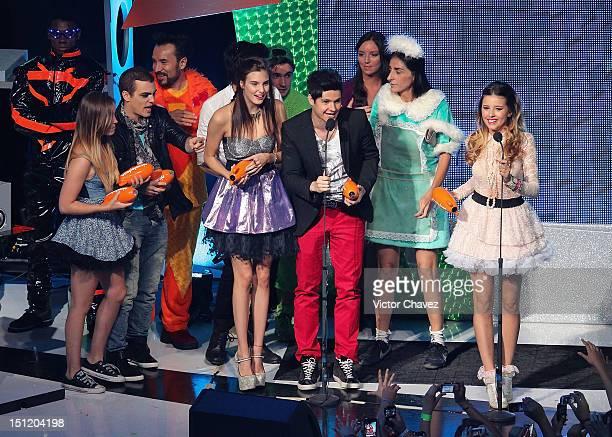 Natasha Dupeyrón Eleazar Gómez Macarena Achaga Yago Muñoz and Paulina Goto of M15 winners of best group award speak onstage at the Kids Choice Awards...