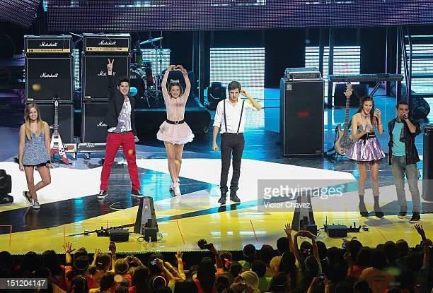 Natasha Dupeyrón Yago Muñoz Paulina Goto Eleazar Gómez Jack Duarte and Macarena Achaga of M15 perform onstage at Kids Choice Awards Mexico 2012 at...