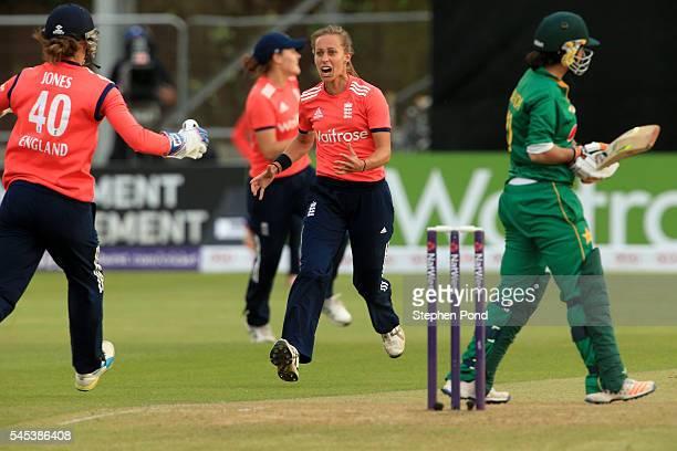 Natasha Farrant of England celebrates dismissing Nahida Khan of Pakistan during the Natwest Women's International T20 match between England Women and...
