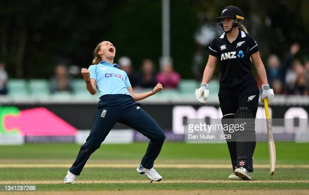 Natasha Farrant of England celebrates taking the wicket of Lea Tahuhu of New Zealand and victory during the 2nd One Day International match between...