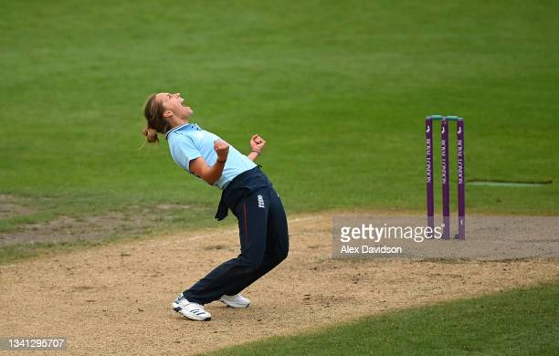 Natasha Farrant of England celebrates the wicket of Lea Tahuhu of New Zealand and victory during the 2nd One Day International match between England...