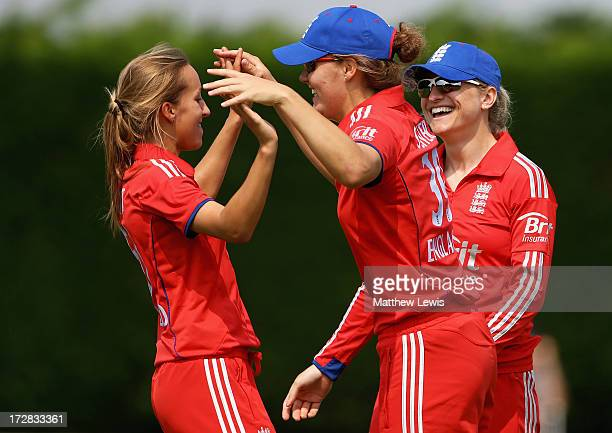 Natasha Farrant of England celebrates with Natalie Sciver after she caught Bismah Maroof of Pakistan during the 1st NatWest Women's International T20...