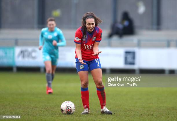 Natasha Fenton of Blackburn Ladies reacts to a decision during the Barclays FA Women's Championship match between London City Lionesses and Blackburn...