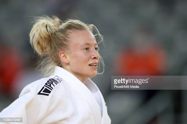 Natasha Ferreira of Brazil reacts in the Women's -48kg semifinal match during day one of the Judo Grand Prix Zagreb 2021 at Arena Zagreb on September...