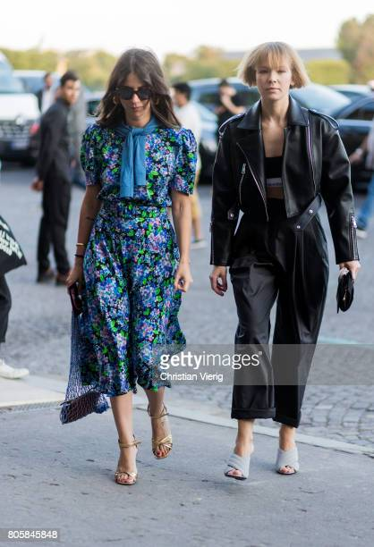 Natasha Goldenberg and Vika Gazinskaya outside Miu Miu Cruise Collection during Paris Fashion Week Haute Couture Fall/Winter 20172018 Day One on July...